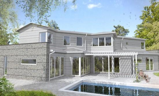 Nybyggnation exklusiv villa 2014, Tage Møller Arkitektbyrå. Som medverkande arkitekt producerade jag efter gestaltningsdirektiv samtliga ritningar från initialt bygglov via förfrågningshandlingar till bygghandlingar.