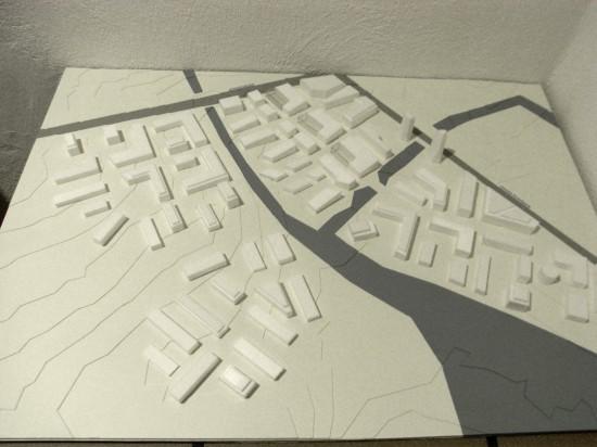 Fysisk modellarbete. Framtidsscenario för område i Lund. Mitt jobb var att skapa modellen utifrån en skiss. Tengbom arkitekter