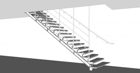 Ritningar på trappa bygghandling, 2014 Tage Möller Arkitektbyrå. Jag gjorde ritningarna efter designdirektiv. En av flera detaljer i en nybyggnation av en exklusiv villa